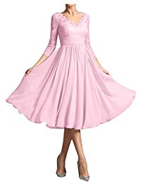 Chiffon and Lace Mother of The Bride Dresses with 3-4 Sleeves