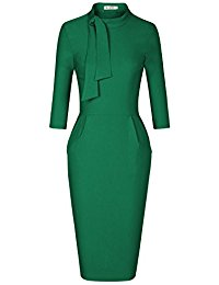 Classic Vintage Tie Neck Formal Cocktail Dress with Pocket