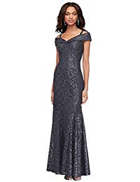 Cold-Shoulder Glitter Lace Mermaid Mother of Bride-Groom Dress Style 2047