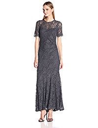 Glitter Lace Short Sleeve Mermaid Mother of Bride-Groom Dress with Scallop Sleeve Detail