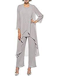 Graceful 3 Pieces Chiffon Mother Dress Bride Pants Suits Plus Size