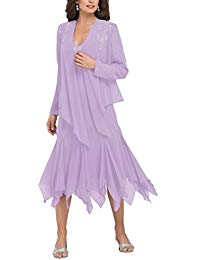 H.S.D Ruffles Chiffon Mother Of The Bride Dress With Jacket