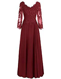 Long Illusion Sleeves Lace Mother Of The Bride Dress Beaded Prom Party Gown SOB235