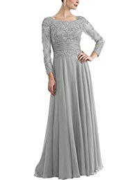 Long Sleeves Appliques Chiffon Mother of The Bride Dresses Long Prom Evening Dress