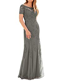 Mother of The Bride Dress Evening Formal Gown with Sleeves Lace Tulle Plus Size