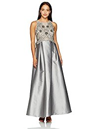 Petite Size Irridescent Faille Beaded Gown