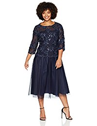 Plus-Size 3-Dimensional Embroidered Mock Dress