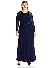 Plus-Size Gown with Beaded Strips On Waistband and Back Key Hole