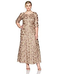Plus-Size Rosette Dress with 3-4 Sleeves and Sequin Detail