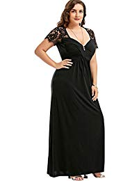 Plus Size Short Sleeve Lace Loose Maxi Vintage Long Floor Length Cocktail Evening Party Prom Gown Formal...