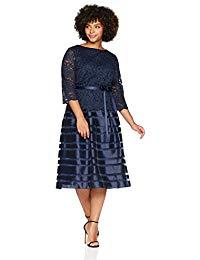 Plus-Size Tea Length A-line Dress with Tie Belt