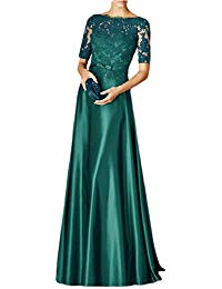 Scoop Neck Formal Gown 1-2 Sleeve Lace Maxi Evening Dress EV121