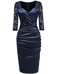Sexy V-Neck Floral Lace Slim Bodycon Business Cocktail Party Pencil Dress