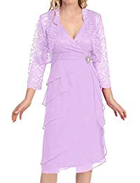 Tea Length Mother The Bride Dresses Evening Party Dresses Lace Jacket Ruffles
