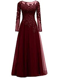 Tulle Appliques Mother of The Bride Dresses Long Sleeves Formal Gowns and Evening Dresses Floor Length