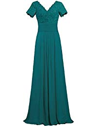 V Neck Lace Sleeve Long Evening Mother The Bride Dresses