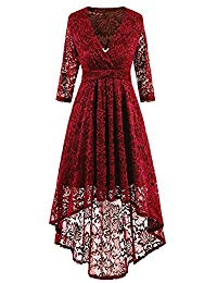 Vintage 1950s Floral Lace Bridesmaid Dress 3-4 Sleeves A-Line Deep V Neck Cocktail Party Dresses w-2 Brooches
