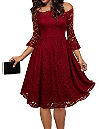Vintage Floral Lace 3-4 Sleeves Off Shoulder Boat Neck Cocktail Evening Party Swing Dress