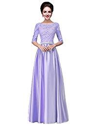 2018 Elegant Long Scoop Lace Satin Bridesmaid Evening Gowns Dress355