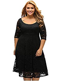 A Line Lace 3-4 Sleeves Plus Size Formal Church Wedding Dress Bridal Gown Knee Length