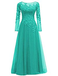 Applique Long Sleeves Mother of The Bride Dress Tulle Prom Evening Dresss