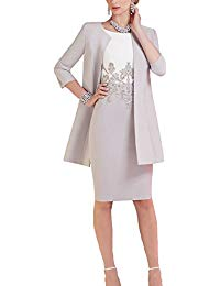 Beaded Knee Length Chiffon Mother of The Bride Dresses with Jacket