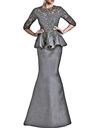 Black Crew Lace Mother Of The Bride Dresses Peplum Floor Length Long Sleeved