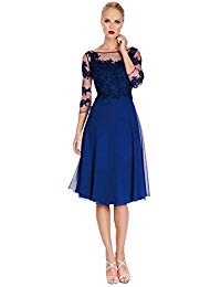 Blue 3-4 Sleeves Cocktail Dresses For Mother Bride