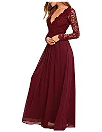 Chiffon Lace top Long Sleeves Open Back Bridesmaid Dress