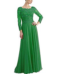 Chiffon Mother of The Bride Dresses Long Prom Evening Gown with Beaded