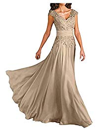 Deep V-Neck Lace Appliquese Prom Gown Long Chiffon Mother Bride Dress
