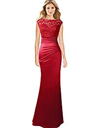 Floral Lace Ruched Formal Prom Evening Mermaid Maxi Dress