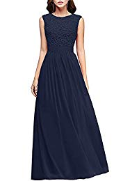 Lace Pleated Mother of Bride Dress Long Prom Evening Gown Sleeveless