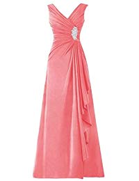 Long Chiffon Pleated Ruffles Mother of the Bride Dress
