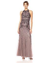 Long Fully Beaded Halter Gown