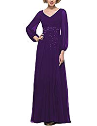 Long Mother of The Bride Dresses with Sleeves Beaded Evening Gowns