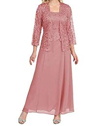 Long Mother of The Bride Evening Formal Lace Dress with Jacket