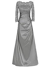 Long Sleeve Lace Mother Of The Bride Satin Formal Dresses OWQ2259