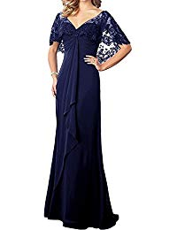 Mother of The Bride Dress with Lace Shawl Chiffon Long Cloak Mother's Prom Evening Dressing Gowns