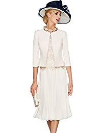 Newdeve Round Neck Ivory Lace Chiffon Mother of the Bride Dress Knee Length