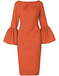 O-Neck Butterfly Sleeve Solid Sheath Wrap Party Midi Dresses