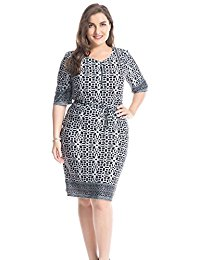 Plus Size Border Printed Zipped Round Neck Dress with Waist Belt - Knee Length Casual and Work Dress