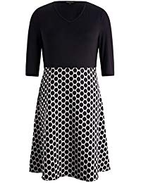 Plus Size Dotted V Neck Black Bodice Dress with A Line Skirt - Knee Length Casual Party Dress