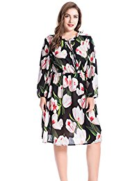 Plus Size Lily Floral Printed Ruffled Collar Dress with Split Neckline - Casual and Party Summer Dress