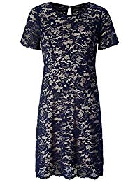Plus Size Scalloped Lace Flared Dress - Casual Dress with Keyhole