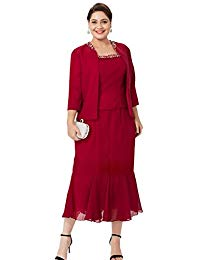 Plus Size Sequin Lace Midi Dress With Jacket - Mother Of The Bride Wedding Dresses