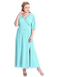 Plus Size Sexy Surplice V Neck Ruched Empire Waist Maxi Long Evening Party Dress