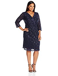 Plus Size Short Lace Dress with Illusion Sleeves
