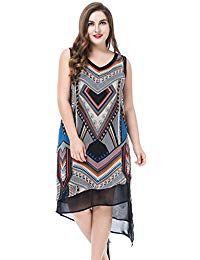 Plus Size Sleeveless Multi Layer Printed Dress - Knee Length Casual Party Dress