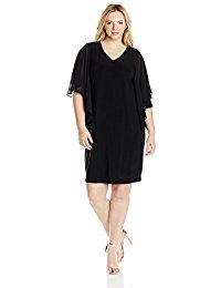 Plus-Size Tullip Sleeve Woven Short Dress